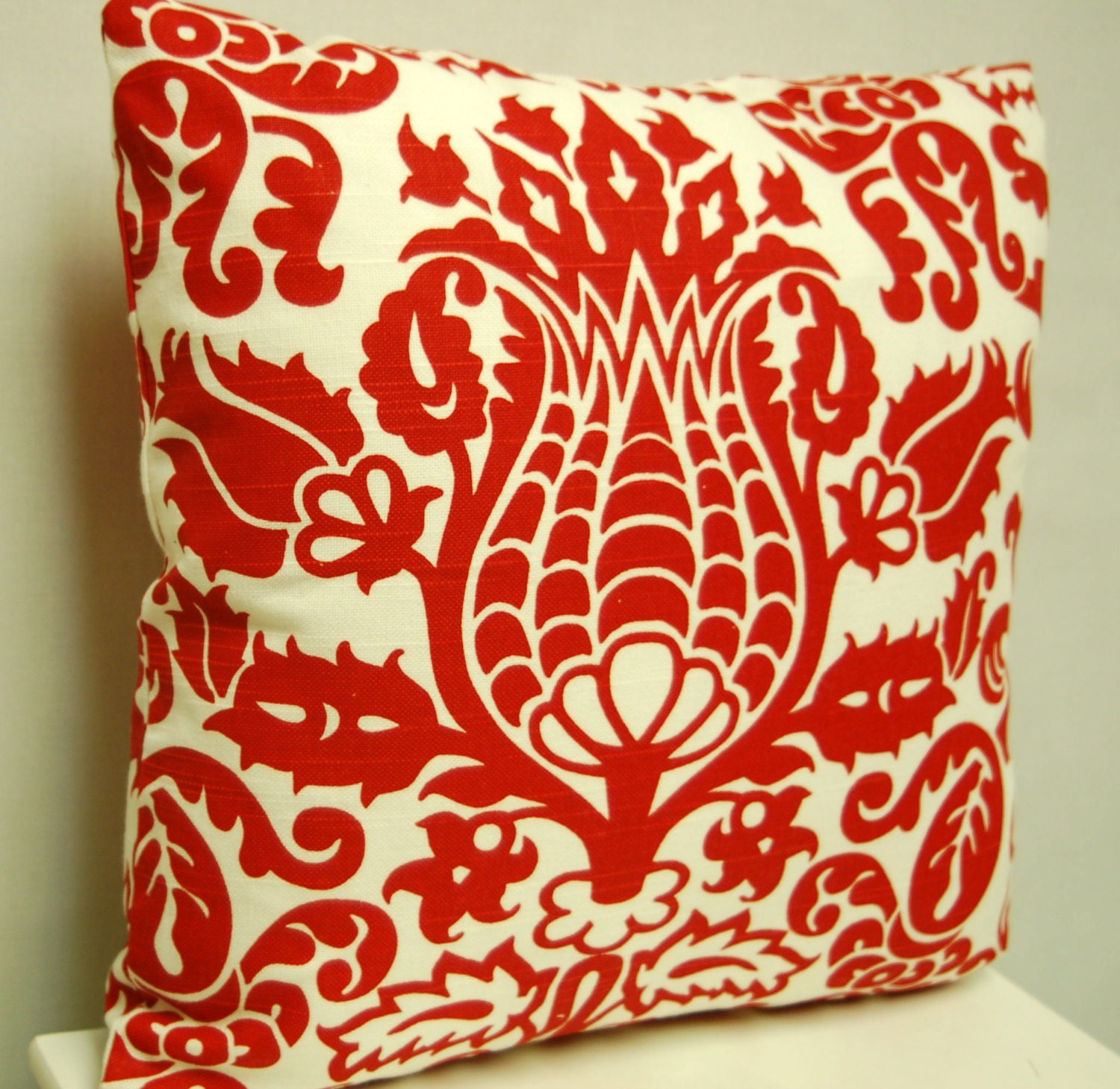 18 Inch Red White Print Throw Pillow Cover by BlackBeltHomeDecor