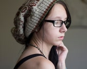 knit large hat - fair isle red green white winter, hand knit