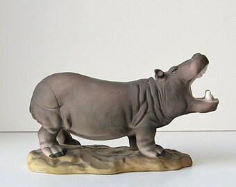 Hippopotamus figurine, porcelain hippo, hippo figurine, hippo sculpture, wild animal figurine, animal home decor