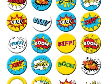 Superhero Comic Book Call Outs Words Fight sounds Pin Back Button Party Favors  1.25 inch Buttons set