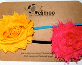 Hot Pink/yellow and Flower Headbands Set