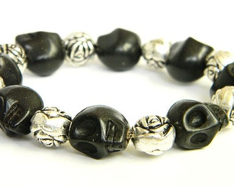 Day of the Dead Skull Bracelet with Silver Rose (Dia De Los Muertos - All Saints Day).  Available in various skull colors