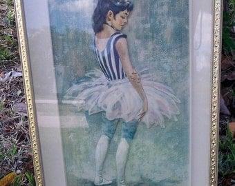 J. Balmer Framed Ballerina Embossed Print