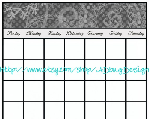 Rory Calendar with Note Spot 16x20 - Printable Dry Erase Calendar - High Resolution JPG - Calendar