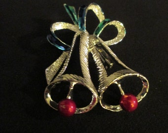 Vintage Silver Christmas Bell Brooch