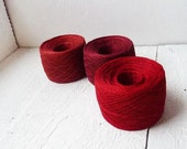 set of 3 balls -laceweight linen yarn in red, rust, garnet - 300gram - 10,6oz. - red harvest collection