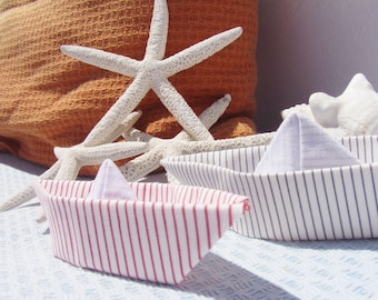 Pair of fabric boats, Nautical decor, fabric origami, paper boats, origami boats, stripes fabric, beach decor, boat mobile, new home, mobile