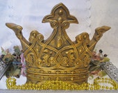 Italian Gold Victorian Princess Crown Wall Decor Hanging Shabby Chic Style
