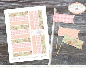 INSTANT DOWNLOAD Printable Party Flags | food drink straw shabby chic vintage floral happy birthday baby shower girl | PDF File, You Print