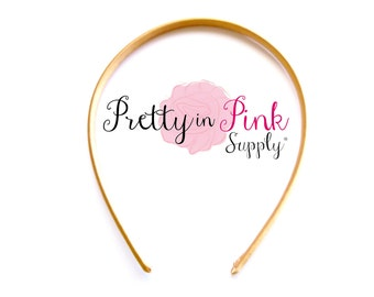 Gold Satin Lined Headband- You choose quantity- Satin Lined Headband- Skinny Headband- Girls Headband- DIY Supply- Plastic Headband