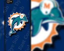 Miami Dolphins Dark Blue Background Design on iPhone 4 / 4s / 5 / 5s / 5c / 6 / 6 Plus Rubber Silicone Case