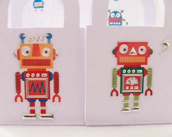 12 Robot favour boxes - birthday party favours - table decorations - robot treat boxes - boy's birthday favour boxes - robot goody boxes