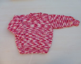 Hand knitted girls jumper red yellow pink 1 - 2 years - girls sweater - children's clothing - baby jumper - knitwear