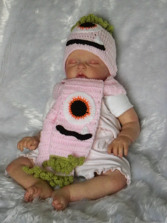 Crochet Halloween Baby Hat Pattern : Hand crochet pink baby halloween monster hat and by ...
