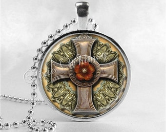 STEAMPUNK CROSS Necklace, Steam Punk Cross Pendant, Cross Jewelry, Glass Art Pendant Charm, Religious Jewelry, Grunge Cross