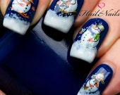 Christmas Nail Wraps Water Transfers Decal Nail Art Y135 Snowmen Salon Quality