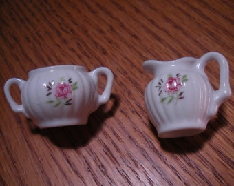 Vintage Miniature China Sugar and Creamer with Roses and Gold Trim