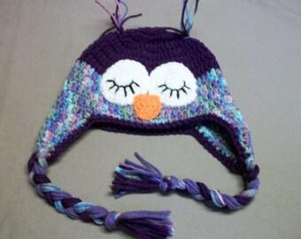 Crocheted Purple Owl Hat