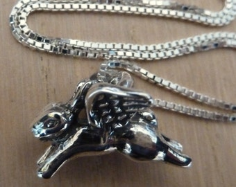 Sterling Silver Flying Angel Bunny Rabbit Necklace Rabbit Memory Jewelry