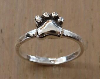 Sterling Silver Pawprint Ring-Paw Print Ring-Original Design-Handmade