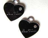 Set of 2 Black Enamel RHINESTONE HEART Charm Pendants (a-14)