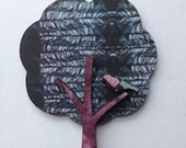Beautiful feather patterned laser cut tree & bird brooch