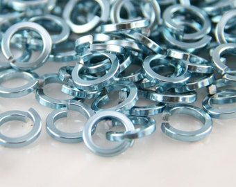 16 ga 1/4, 150 Square Sky Blue Anodized Aluminum Chainmail Jump Rings
