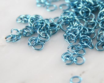 20 ga 1/8, 375 Sky Blue Anodized Aluminum Chainmail Jump Rings