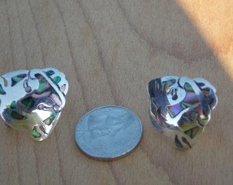 VintageTAXCO Sterling Inlaid Abalone Screw Back Earrings