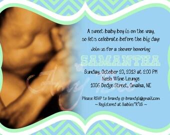 Chevron Pattern - Baby Shower Sonogram Invitation