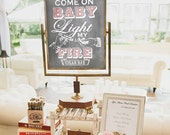 Baby Shower Cigar Bar Sign- Come on Baby Light My Fire. Typography Sign for Cigar Bar