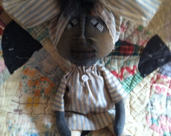 Primitive Black Folk Art Doll handmade free shipping