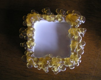 Rubber & Plastic Bubble Magnet Frames, Upcycled, Yellow, White