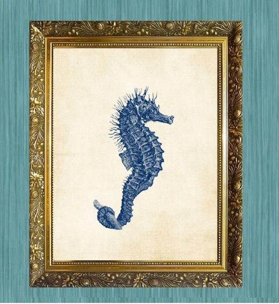 Sea Horse Art Print Beach Art Sea Life Print Blue 8 x 10