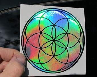 Seed of Life Vinyl Sticker, Dual Layer, Prismatic Rainbow Silver/ Chrome 4""