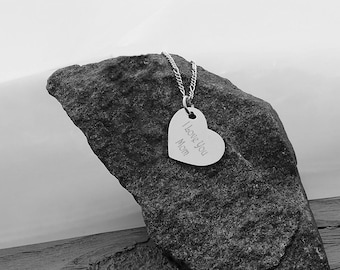Personalized Silver Heart Pendant Necklace Custom Engraved Free