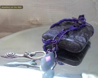 Fossil Jasper wire wrapped pendant