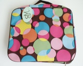 CLEARANCE SALE Personalized Large Cosmetics & Electronics case, brown with multi colored polka dots