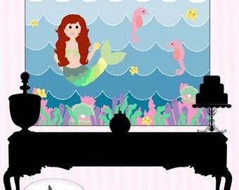 Mermaid Mania Party Digital Backdrop