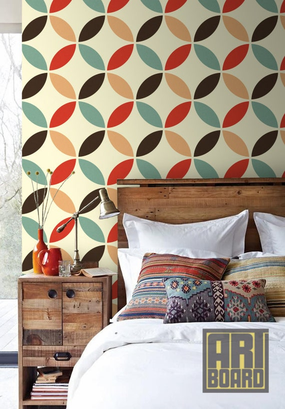 Items similar to retro circles pattern self adhesive diy - Retro home design ...