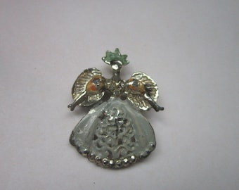 Vintage Ugly Large Angel or Victorian Woman Brooch Pin Old