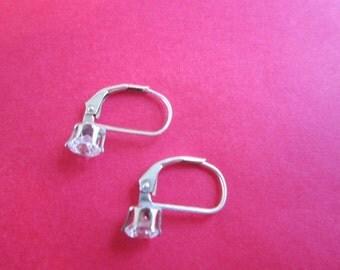 Vintage Sterling Silver & CZ  Pierced Earrings Pretty