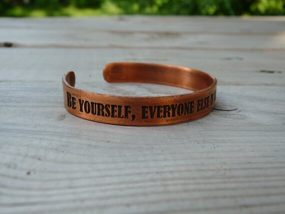 Custom copper bracelet etched with Oscar Wilde quote - Select a custom quote