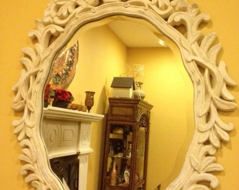 Large Decorative Mirror Ivory Beveled Distressed Leaves and Basket