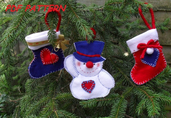 Free Christmas Tree Decoration Sewing Patterns : Felt christmas tree ornaments sewing pattern pdf how to make