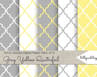 Gray Yellow Quatrefoil Digital Paper Pack of 5--12x12 JPG & Ai File Formats Downloadable Quatrefoil Papers in Gray, Yellow, White