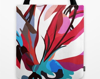 Abstract Art Tote Bag Red White and Blue Tote Bag Flower Art Tote Bag Red Tote Bag Colorful Tote Bag Art Bag Gift for Her