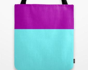 Women's Tote Bag - Color Block, Sky Blue and Violet, Canvas Bag