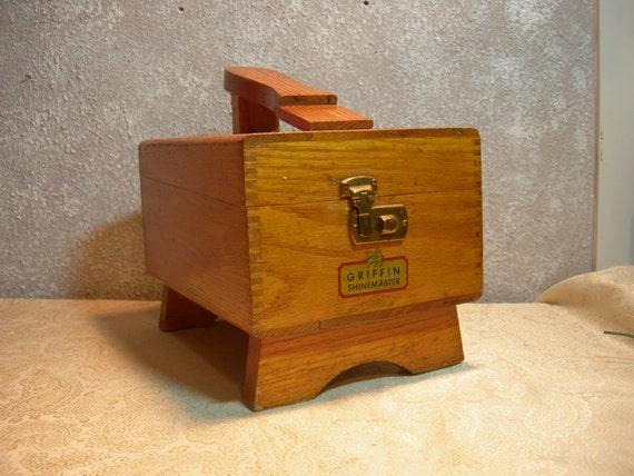 Vintage Griffin Shinemaster Oak Shoe Shine Box By Myretrocharm