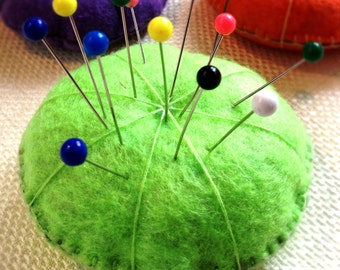 Recycled Pin Cushion - Felt Pin Cushion - Great Gift Idea - Several Colors Available - Sewing - Stuffing is Recycled